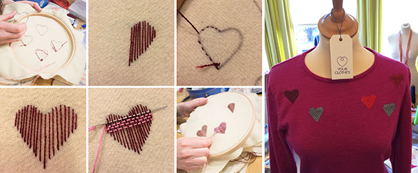 Step-by-step pictures to creating a heart-shaped darn.