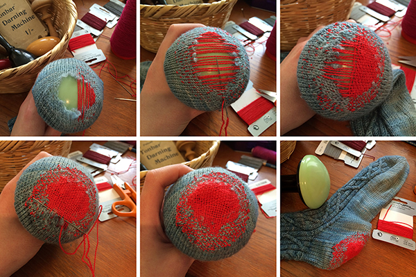 Step-by-step photos for darning socks.