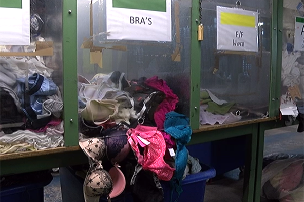 Bras ready for sorting in the BTR factory.