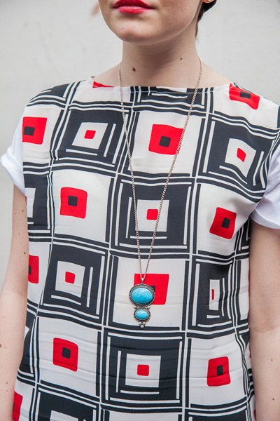Blouse with geometric print.