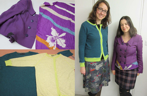 Cardigans created by mixing and matching.