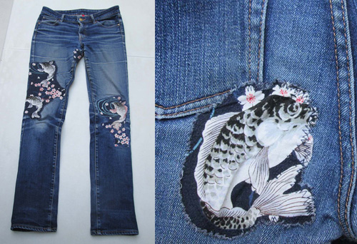 Jeans with decorative patches.