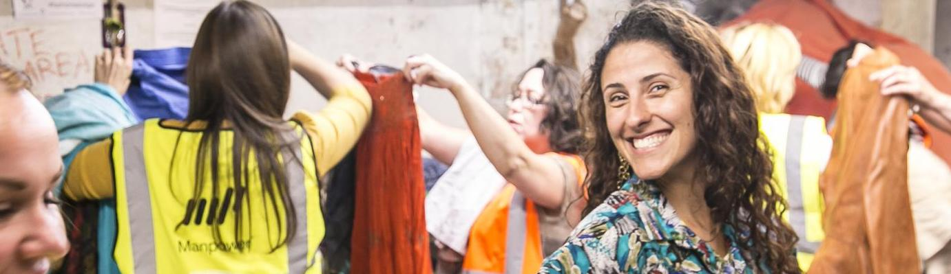 Women finding great clothes at our Bristol Fashion Salvage with Bristol Textiles Recyclers, 2015.