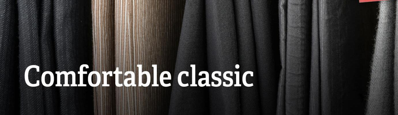 """Text: """"Comfortable classic""""."""