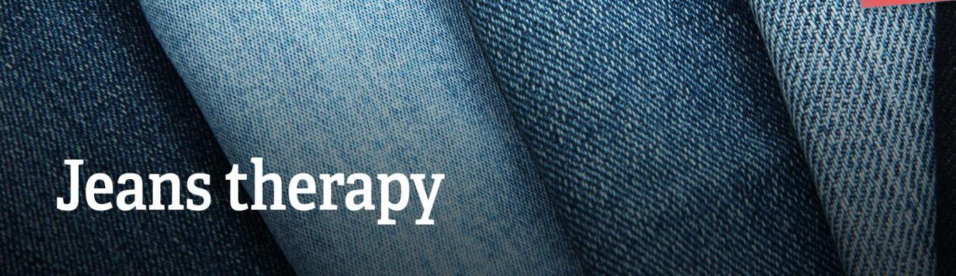 "Text: ""Jeans therapy""."