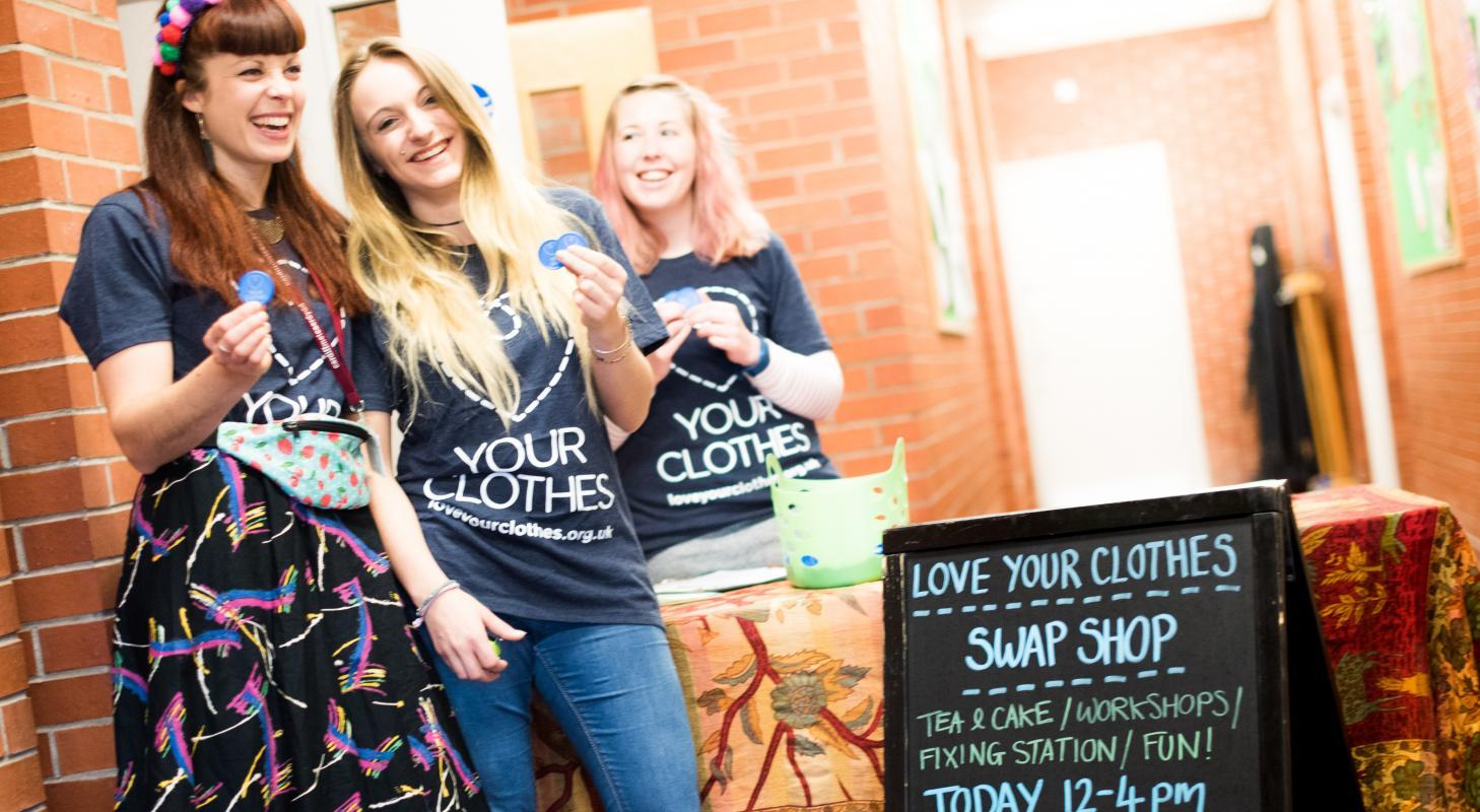 The Love Your Clothes Cardiff team at our swap shop in Cardiff, October 2016.