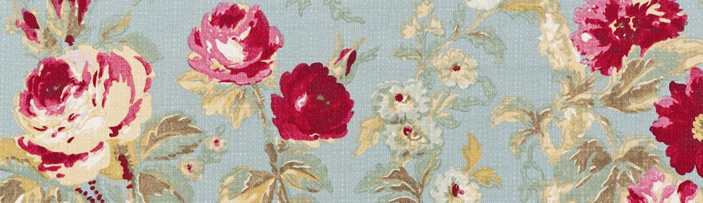 Blue fabric with pink roses design.