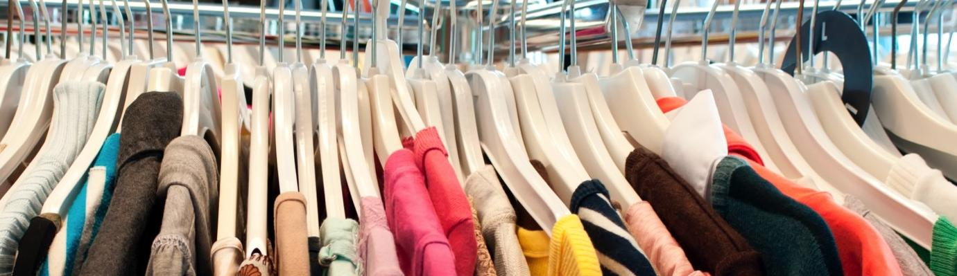 Rail of clothing in a shop