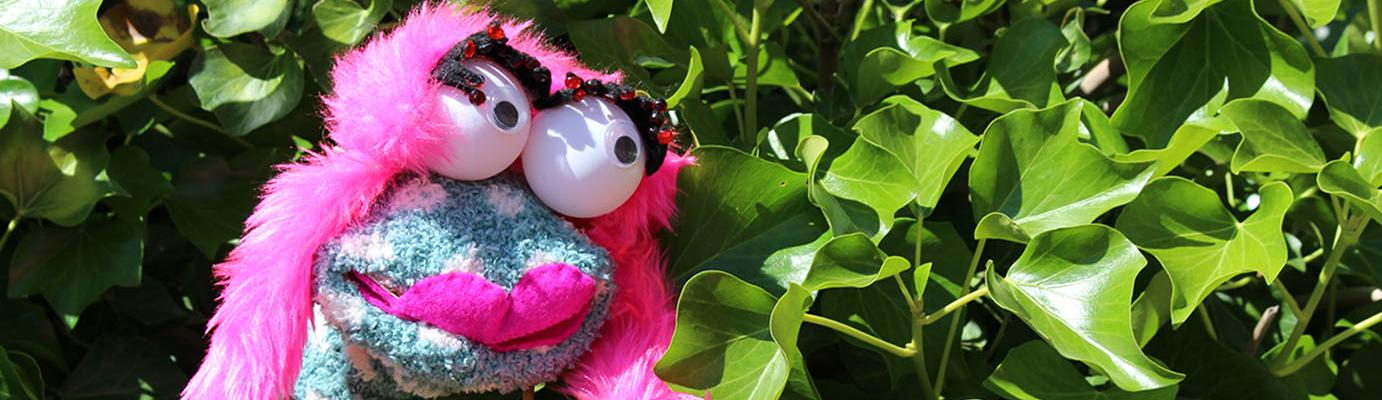 Blue and pink sock puppet