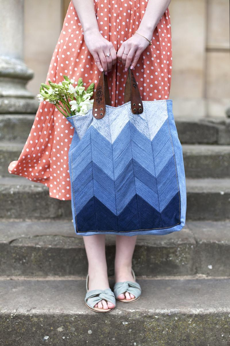 denim chevron bag