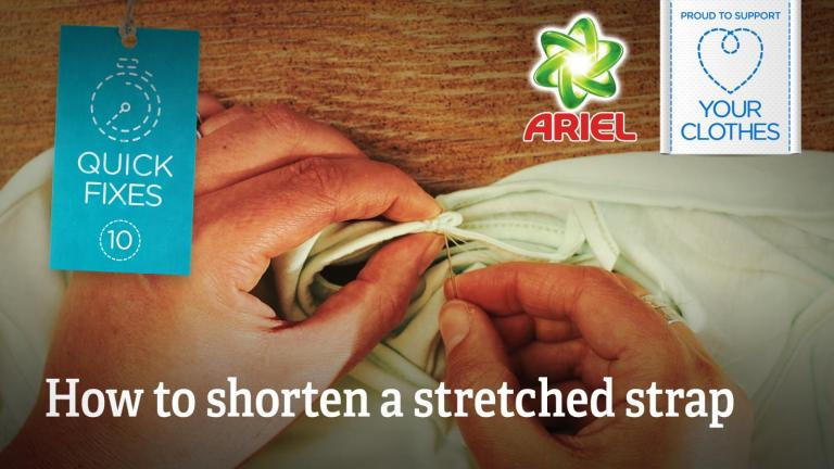 Text: how to shorten a stretched strap