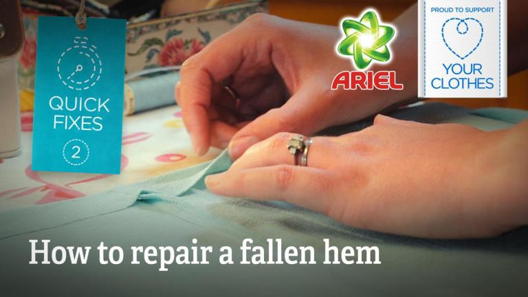 Text: how to repair a fallen hem