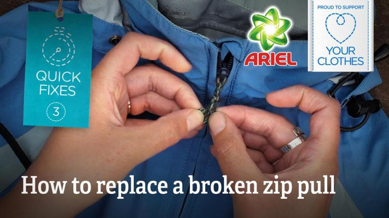 Text: how to replace a broken zip pull