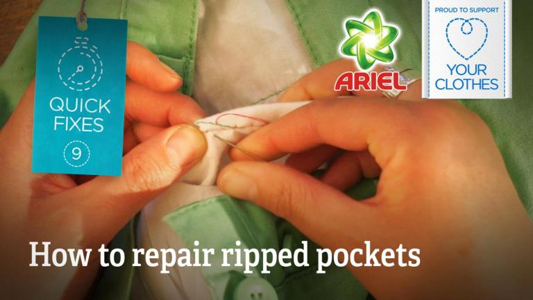 Text: how to repair ripped pockets