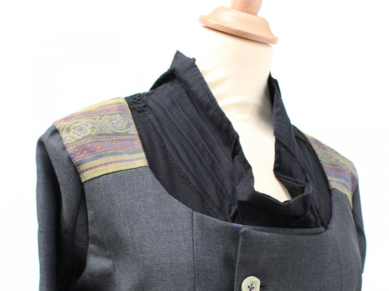 Detail of an upcycled garment.