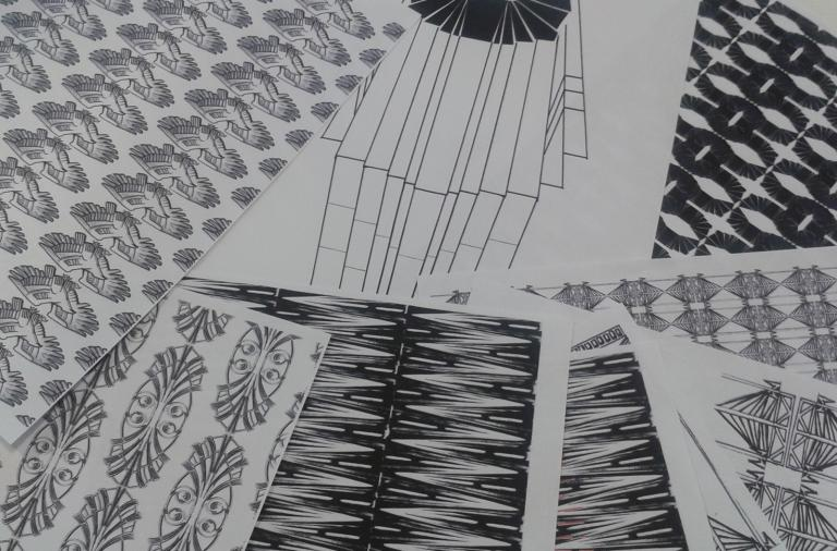 Black and white prints on fabric.