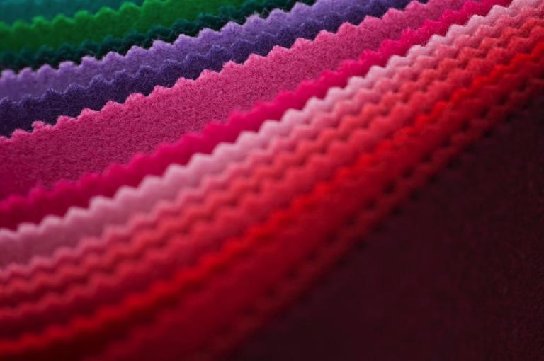 Coloured swatches of fabric.