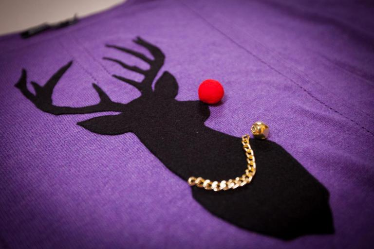 Reindeer decoration on a jumper