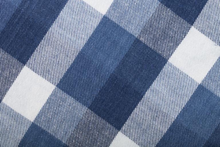 Blue gingham fabric.