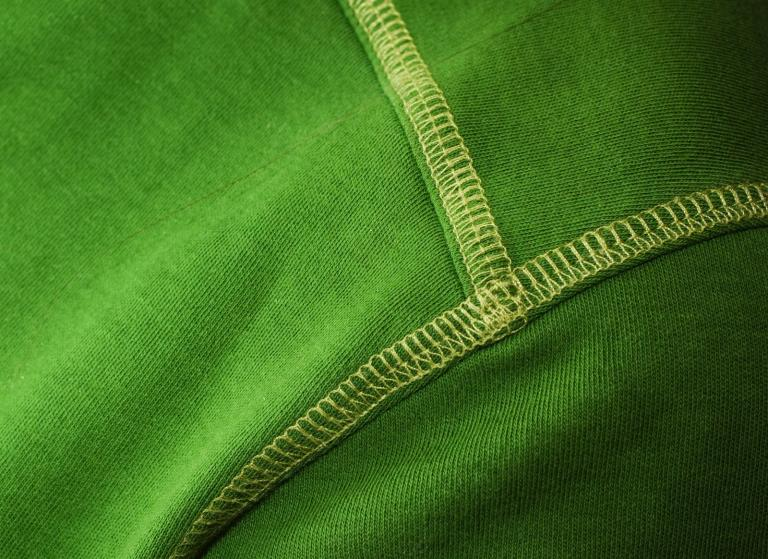 Green jersey fabric.