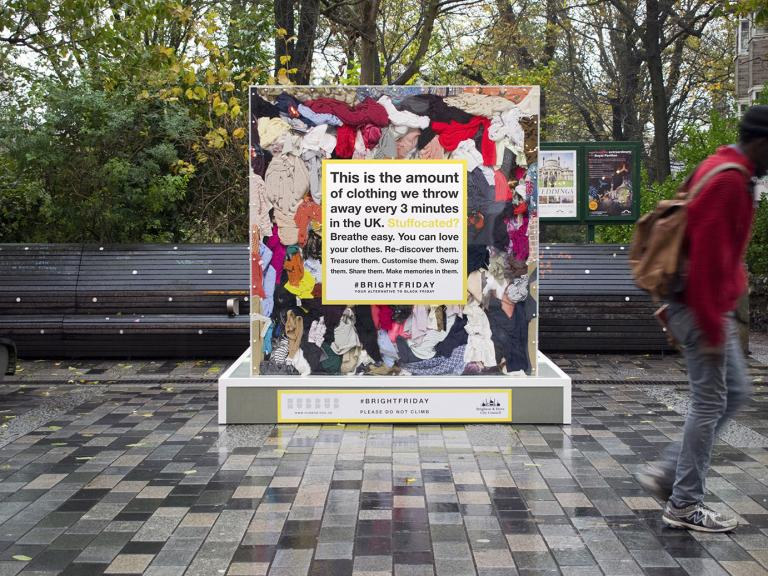 Street display on Brighton street showing the amount of clothes we throw away every 3 minutes in the UK.