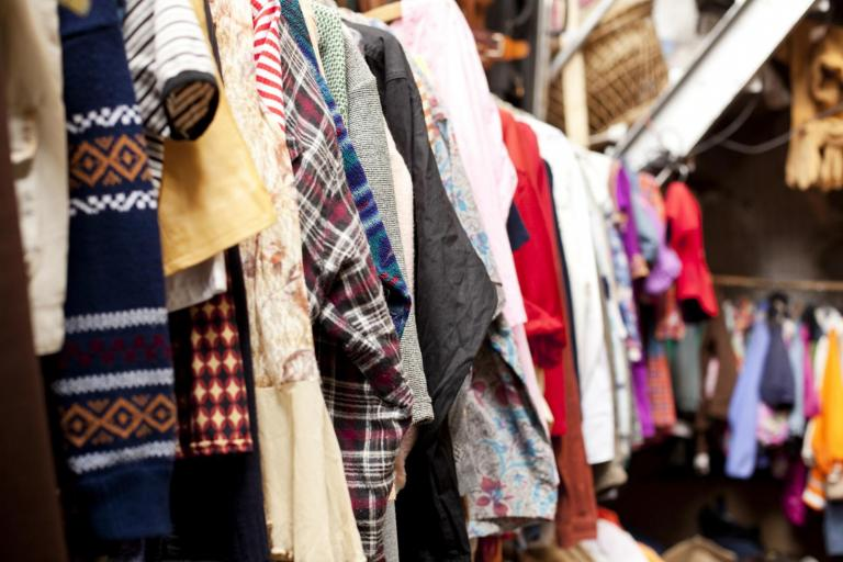 rail of second hand clothes