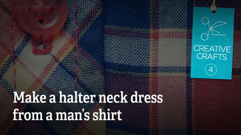 How to make a halter neck dress from a man's shirt