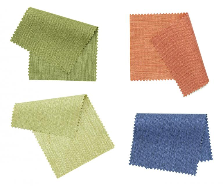 Fabric samples in various colours.