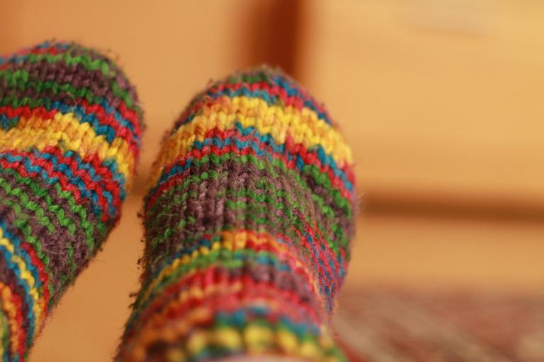 Colourful woollen socks