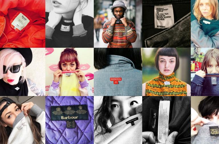 Montage of images of people promoting Fashion Revolution.